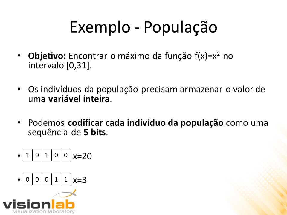Exemplo - População Objetivo: Encontrar o máximo da função f(x)=x2 no intervalo [0,31].
